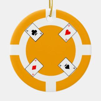 Poker Chip - Orange Ceramic Ornament