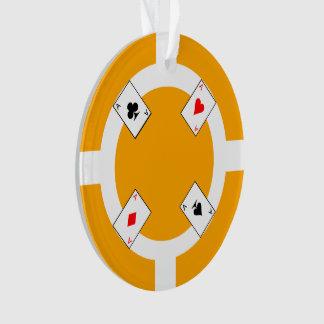 Poker Chip - Orange Ornament