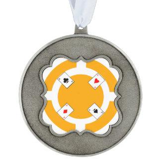 Poker Chip - Orange Pewter Ornament