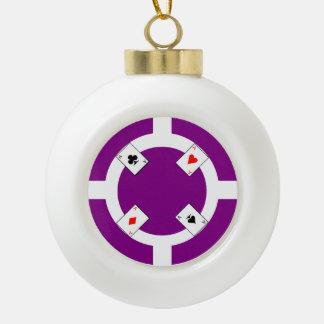 Poker Chip - Purple Ceramic Ball Christmas Ornament