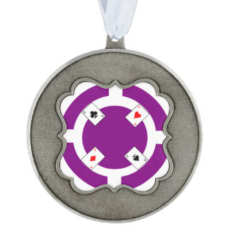 Poker Chip - Purple Pewter Ornament