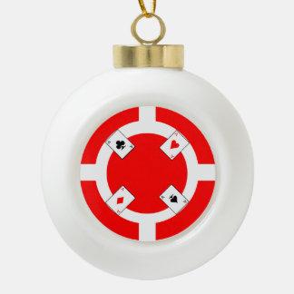 Poker Chip - Red Ceramic Ball Christmas Ornament