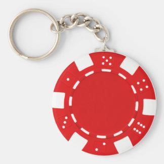 poker chip red basic round button keychain