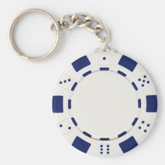 poker chip white basic round button keychain
