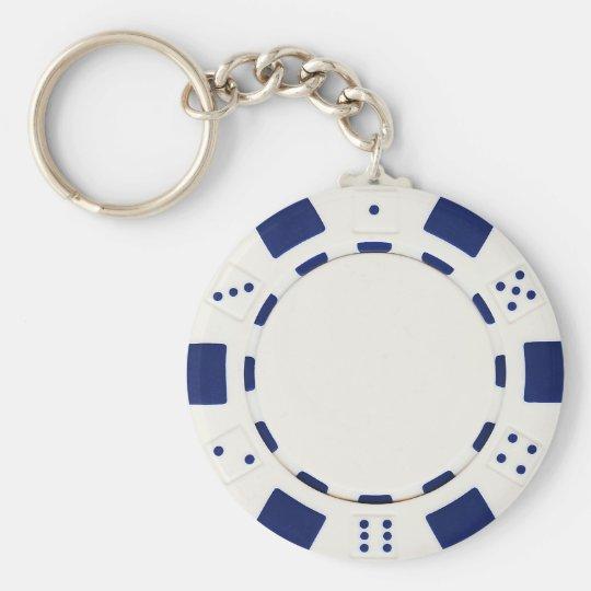 poker chip white keychain