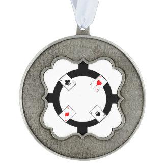 Poker Chip - White Pewter Ornament
