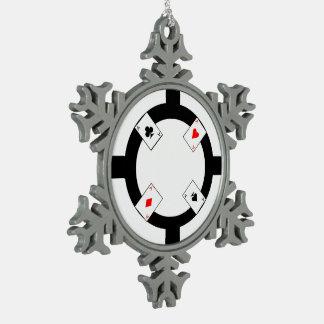 Poker Chip - White Snowflake Pewter Christmas Ornament