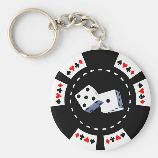 POKER CHIP WITH DICE ORNAMENT KEY CHAIN