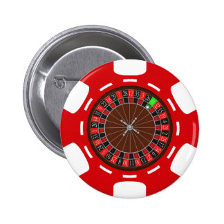 POKER CHIP WITH ROULETTE WHEEL PINBACK BUTTONS