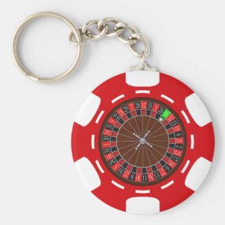 POKER CHIP WITH ROULETTE WHEEL KEYCHAIN