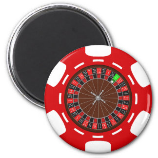 POKER CHIP WITH ROULETTE WHEEL REFRIGERATOR MAGNET