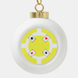 Poker Chip - Yellow Ceramic Ball Christmas Ornament