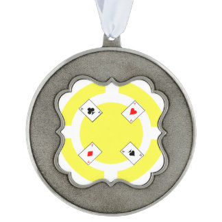 Poker Chip - Yellow Ornament