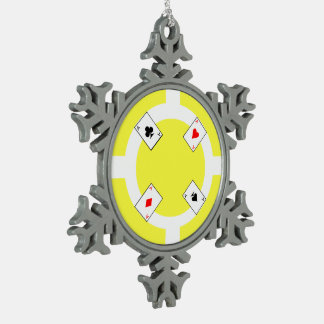 Poker Chip - Yellow Snowflake Pewter Christmas Ornament