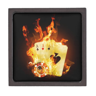 Poker Chips Cards on Fire Jewelry Box