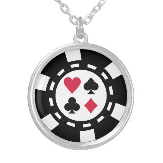Poker chips casino silver plated necklace