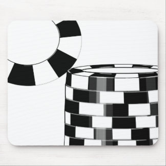 Poker chips in black and white mouse pad