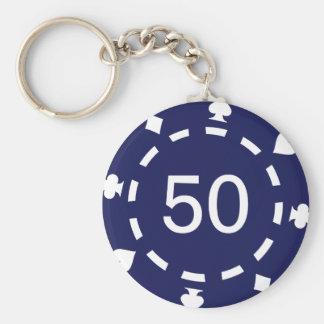 Poker chips basic round button keychain