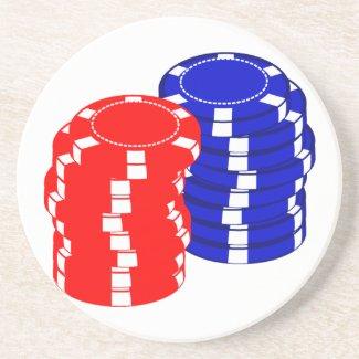 Poker Chips Sandstone Coaster coaster