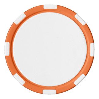 Poker Chips w/ Orange Striped Edge