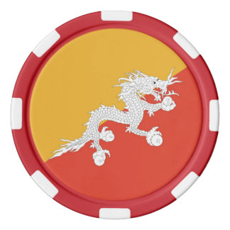 Poker chips with Flag of Bhutan
