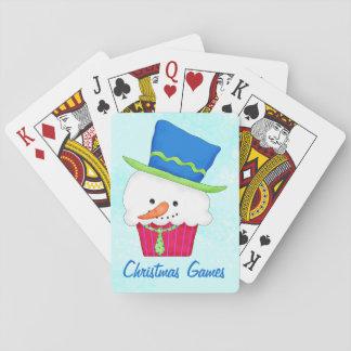 Póker del arte de la magdalena del muñeco de nieve barajas de cartas