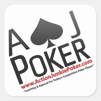 Póker del drogadicto de la acción pegatina cuadrada