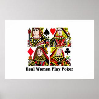 Póker del juego de las mujeres reales póster