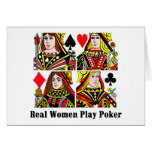 Póker del juego de las mujeres reales felicitacion