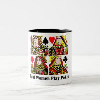 Póker del juego de las mujeres reales taza de café de dos colores