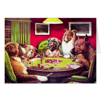 Poker Dogs: A Bold Bluff Greeting Card