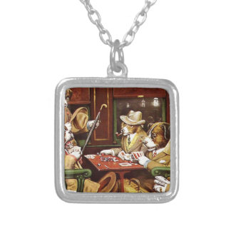 poker dogs.jpeg silver plated necklace