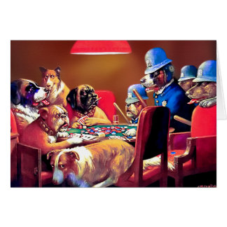 Poker Dogs: Pinched with Four Aces Card