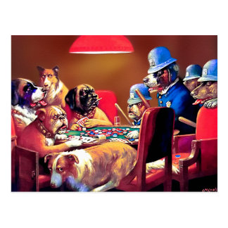 Poker Dogs Pinched with Four Aces Postcards