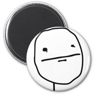 Poker Face Comic Face 2 Inch Round Magnet