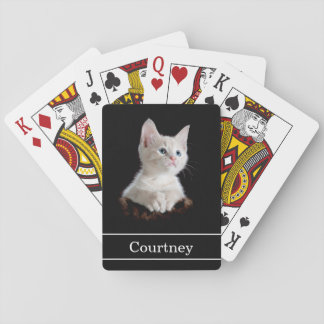 Poker Face Cute Kitten with Name on Black Playing Cards