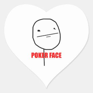 Poker face internet meme heart sticker