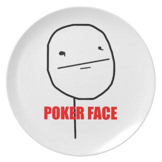 Poker Face Meme Melamine Plate