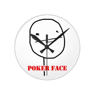 Poker face - meme round clock