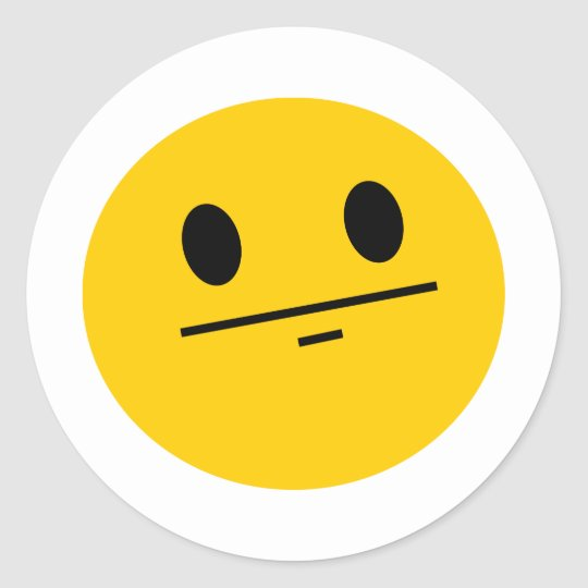 Poker Face Smiley Classic Round Sticker
