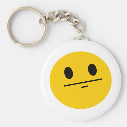 Poker Face Smiley Keychain