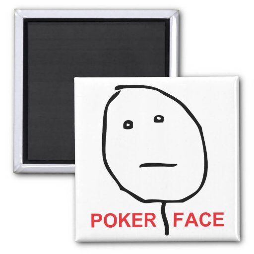 Poker Face (text) 2 Inch Square Magnet