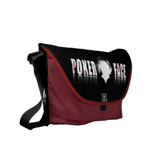 Poker Face text with a blank face Commuter Bag