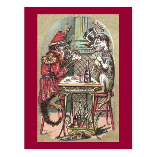 Poker Game Between Monkey & Bulldog Postcards