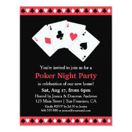 Poker Game Night Housewarming Party Card