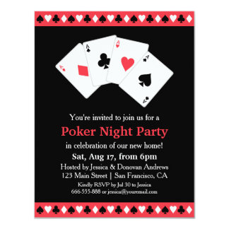 Poker Game Night Housewarming Party 4.25x5.5 Paper Invitation Card