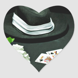 Poker gangster gun rose heart sticker