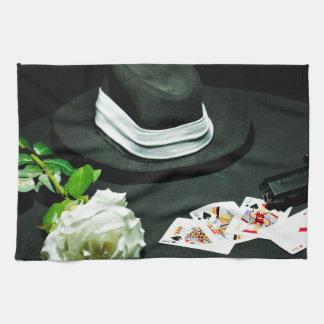 Poker gangster gun rose kitchen towel