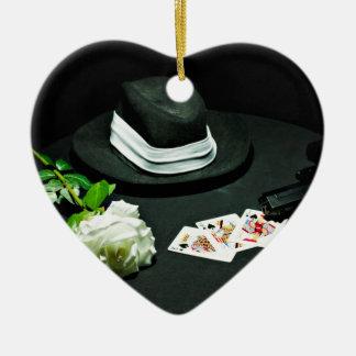 Poker gangster gun rose Double-Sided heart ceramic christmas ornament