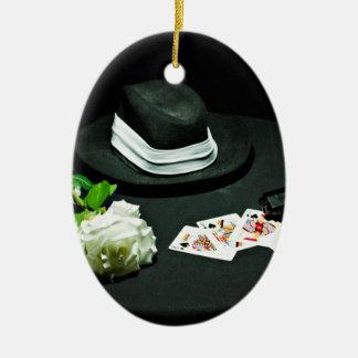 Poker gangster gun rose Double-Sided oval ceramic christmas ornament